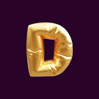 Złoty litera d balon ilustracja 3d. 3d ilustracja złotego balonu litery d.