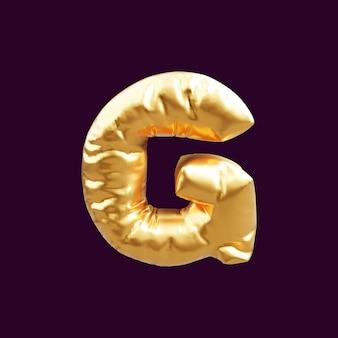 Złoty litera g balon ilustracja 3d. 3d ilustracja złoty balon z literą g.