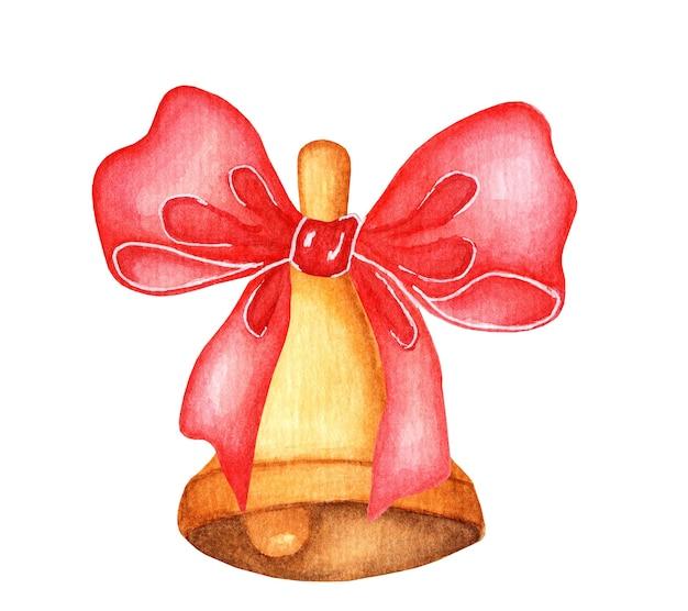 Złoty metalowy dzwonek z czerwoną kokardą na białym tle akwarela ilustracja bożego narodzenia