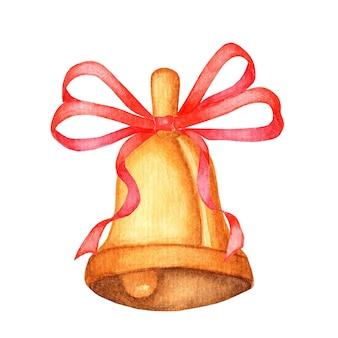 Złoty metalowy dzwonek z czerwoną kokardą na białym tle akwarela ilustracja symbol boże narodzenie