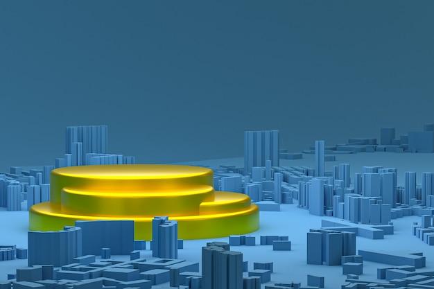Złoty minimalny wyświetlacz na podium lub cokole na niebieskim tle mapy budynków miasta renderowania 3d do prezentacji produktów kosmetycznych
