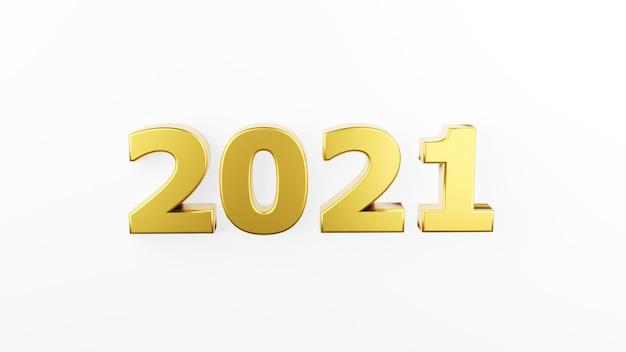 Złoty napis 2021 na białym tle. szczęśliwego nowego roku 2021. ilustracja do reklamy. renderowanie 3d.