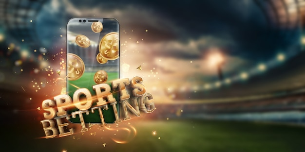 Złoty napis zakłady sportowe na smartfonie na tle stadionu.