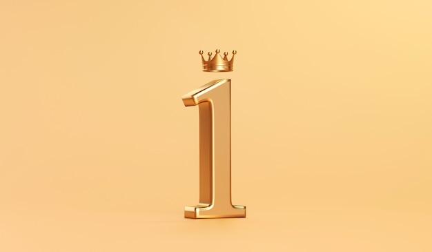 Złoty numer 1 i złota korona króla za sukces