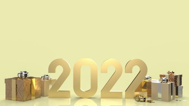 Złoty numer 2022 i pudełko na nowy rok koncepcja renderowania 3d.