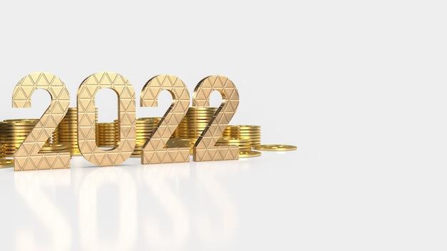 Złoty numer 2022 i złote monety na białym tle na nowy rok lub biznes koncepcja renderowania 3d