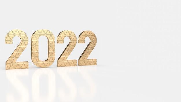 Złoty numer 2022 na białym tle na nowy rok lub biznes koncepcja renderowania 3d