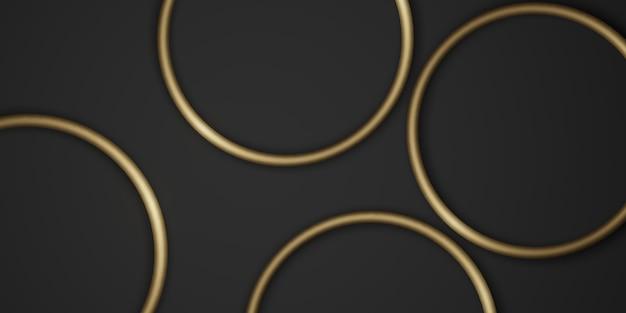 Złoty okrąg ramki tło czarne tło prosty luksus do wklejania tekstu ilustracja 3d