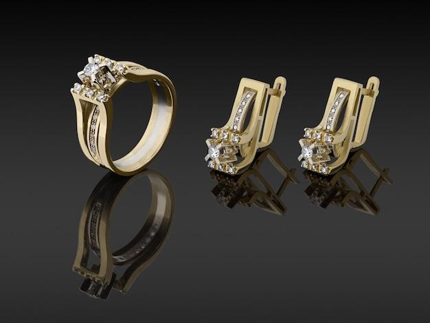 Złoty pierścionek i kolczyki z brylantami