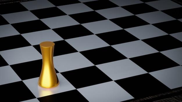 Złoty pionek szachowy na szachownicy