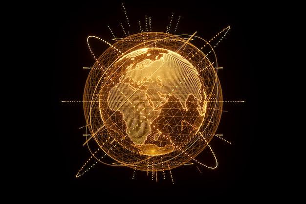 Złoty, pomarańczowy hologram planety ziemi wykonany z kropek na czarnej ścianie. globalizacja, sieć, szybki internet. kopiowanie miejsca, renderowanie 3d ilustracje 3d.