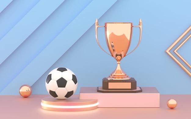 Złoty puchar puchar z piłki nożnej na podium.