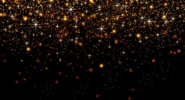 Złoty pył i gwiazdy bokeh na czarnym tle, koncepcja bożego narodzenia i szczęśliwych wakacji