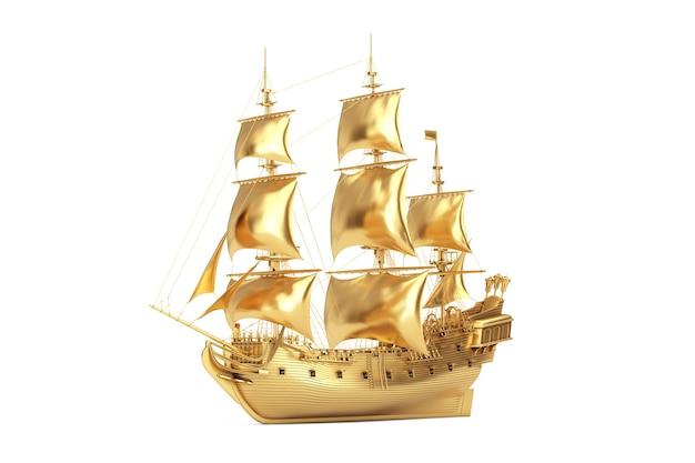 Złoty rocznik wysoki żaglowiec, karawela, statek piracki lub okręt wojenny na białym tle. renderowanie 3d