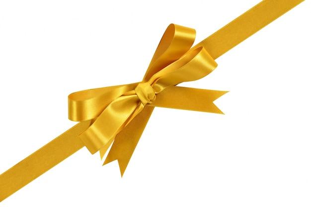 Złoty róg przekątnej dar dziobu wstążki