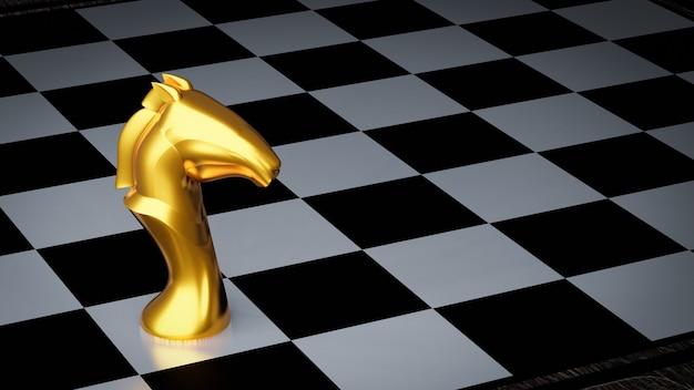 Złoty rycerz szachowy na szachownicy