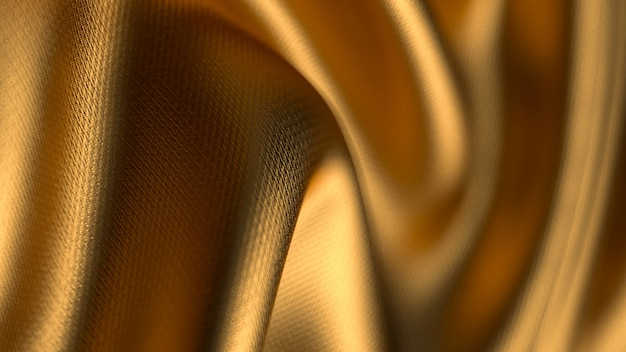 Złoty skręcony materiał o małej głębi ostrości