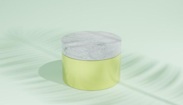 Złoty słoik kosmetyczny z marmurową pokrywką na zielonym tle i cieniem liści palmowych. ilustracja 3d