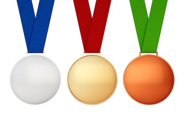 Złoty, srebrny i brązowy medal na białym tle