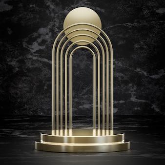 Złoty stojak na podium na czarnym marmurze do renderowania 3d lokowania produktu