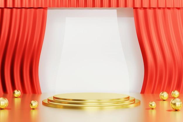 Złoty stojak na reklamę produktu i reklamę, z renderowaniem 3d czerwonej kurtyny.