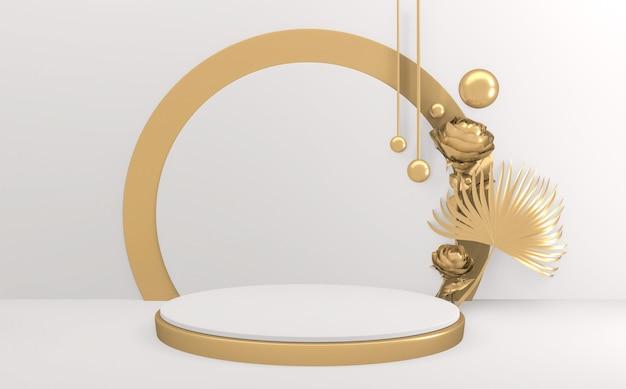 Złoty styl, podium minimalistyczny geometryczny. renderowanie 3d