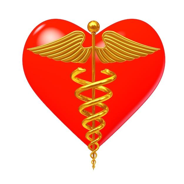 Złoty symbol medyczny kaduceusz przed czerwonym sercem na białym tle. renderowanie 3d