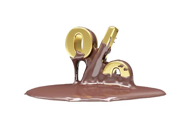 Złoty symbol procentu w stopionej czekoladzie mlecznej na białym tle