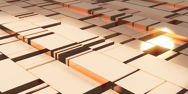 Złoty sześcian tło abstrakcyjna złota odblaskowa geometryczna ilustracja 3d