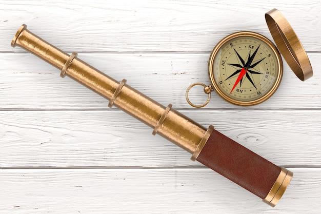 Złoty vintage teleskop spyglass z kompasem nad ekstremalnym zbliżeniem drewnianym stole. renderowanie 3d