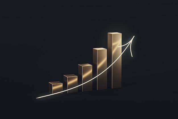 Złoty wykres finansowy zysku i ekonomii