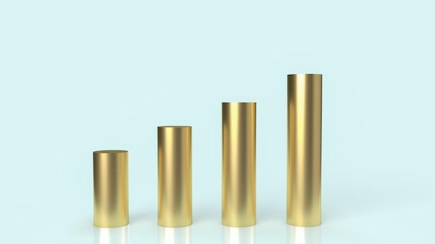 Złoty wykres na niebieskim tle dla renderowania 3d treści biznesowych