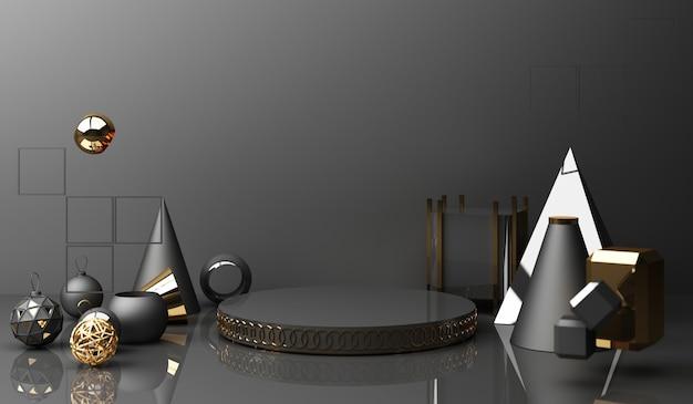 Złoty wyświetlacz na podium na czarnym tle z minimalną chińską prezentacją produktu o geometrycznym kształcie