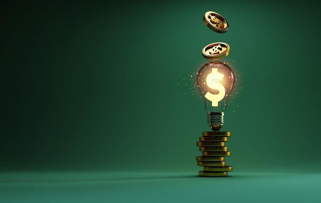 Złoty znak dolara amerykańskiego świecący wewnątrz przezroczystej żarówki z układaniem monet i upuszczaniem na pomysł kreatywnego myślenia i rozwiązywanie problemów może zarobić więcej pieniędzy dzięki technice renderowania 3d.