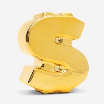Złoty znak dolara finansów i element budżetowania