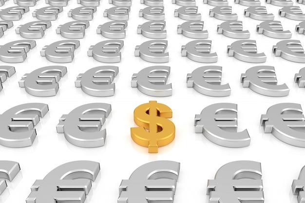 Złoty znak dolara pośród srebrnych znaków euro