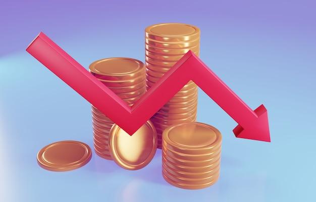 Złoty znak z czerwoną strzałką w dół. pojęcie upadłości. ilustracja 3d