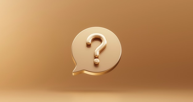 Złoty znak zapytania bąbelek ikona znak lub zapytaj rozwiązanie odpowiedzi na pytania i wsparcie informacji ilustracja symbol biznesu na złotym tle z problemem graficznym pomysłem lub koncepcją pomocy. renderowanie 3d.