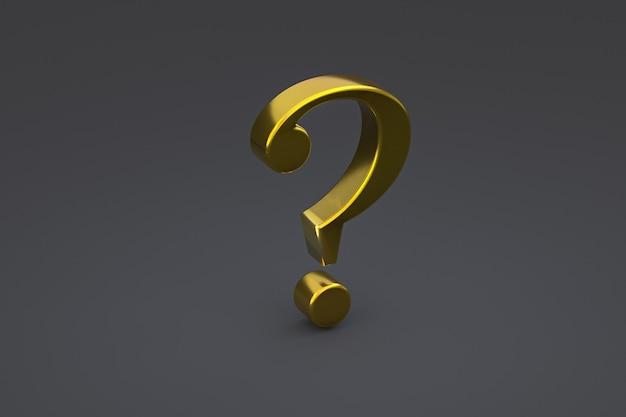 Złoty znak zapytania minimalny na czarnym tle, renderowanie 3d, minimalna i kopiowa przestrzeń