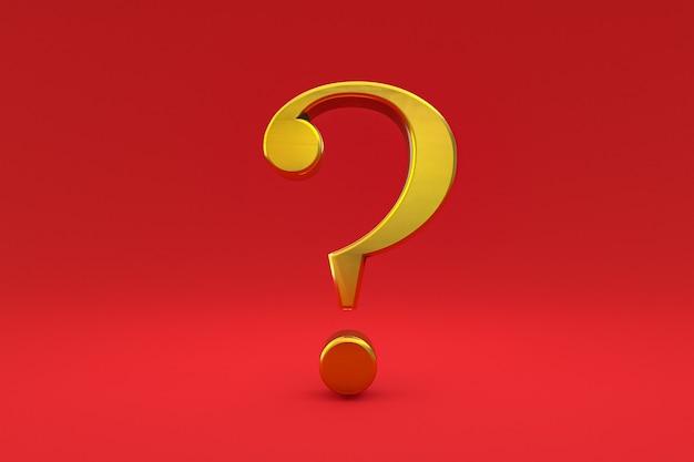 Złoty znak zapytania minimalny na czerwonym tle, renderowanie 3d, minimalna i kopiowa przestrzeń