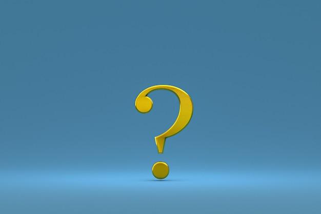 Złoty znak zapytania minimalny na niebieskim tle, renderowanie 3d, minimalna i kopiowa przestrzeń