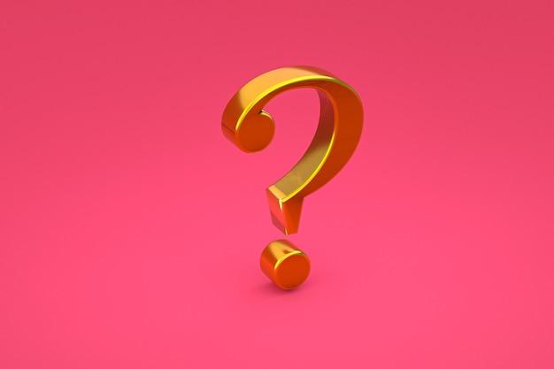 Złoty znak zapytania minimalny na różowym tle, renderowanie 3d, minimalna i kopiowa przestrzeń