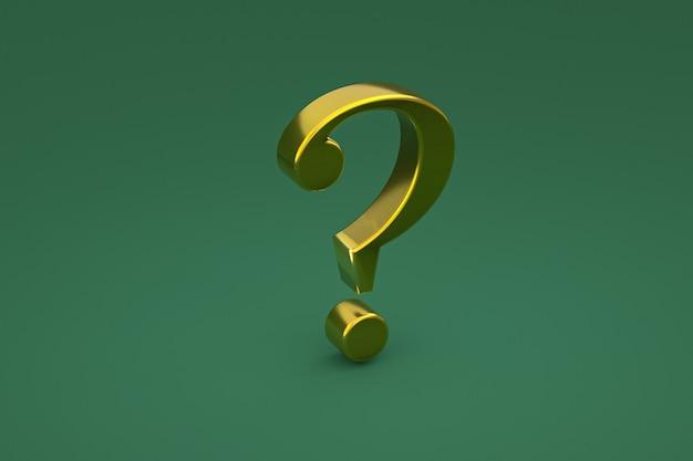 Złoty znak zapytania minimalny na zielonym tle, renderowanie 3d, minimalna i kopiowa przestrzeń