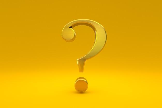 Złoty znak zapytania minimalny na żółtym tle, renderowanie 3d, minimalna i kopiowa przestrzeń