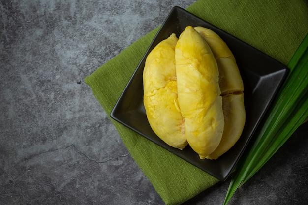 Złoty żółty durian miąższ sezonowy owocowy tajlandzki owocowy pojęcie.