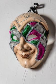 Złowroga maska jokera n biała ściana