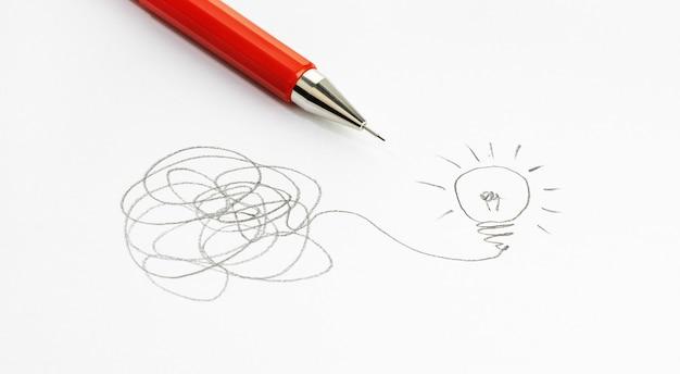 Złożoność i rozwój pomysłów, burza mózgów i koncepcja rozwiązywania problemów rysunek żarówki