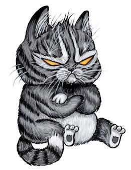 Zły Czarny Kot Z żółtymi Pustymi Oczami Straszny Halloween Czarny Kot Negatywne Emocje Premium Zdjęcia