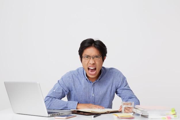 Zły wściekły azjatycki młody biznesmen w okularach pracuje przy stole z laptopem krzycząc na białej ścianie