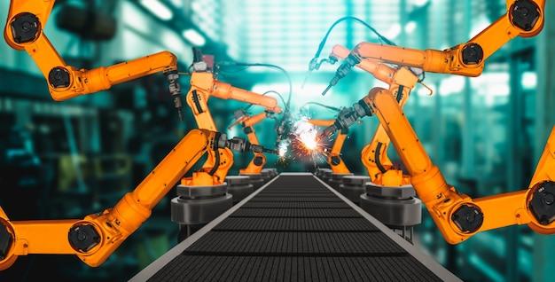 Zmechanizowane ramię robota przemysłowego do montażu na fabrycznej linii produkcyjnej
